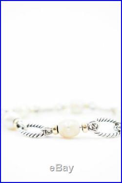 AUTHENTIC David Yurman Sterling Silver & 18K Gold Pearl Figaro Link Bracelet