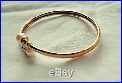 Alwand Vahan Solid 10K Yellow Gold Pearl & Diamonds Flexible Bangle Bracelet