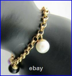 Amethyst Pearl Onyx Drop 14K Yellow Gold bracelet 7 Inches 108200