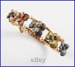 Antique 14k Gold Art Nouveau Enamel Diamond & Pearl Pansy Flower Bracelet