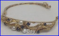 Antique 14k Yellow Gold Pearl & Blue Sapphire Bangle Bracelet Round Women Ladies