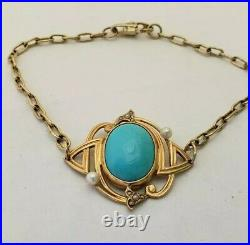 Antique 14k gold Art Deco Turquoise and Pearl Bracelet