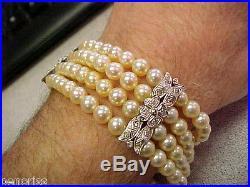 Antique 18k White Gold 4 Row Pearl & Diamond Bracelet 7.5 inch Make Offer