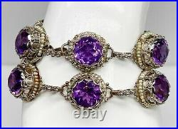 Antique 1930 $15,000 Natural Amethyst Diamond Pearl 14k White Gold Bracelet 58g