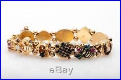 Antique 1950s Enamel Turquoise Pearl Ruby Sapphire 14k Gold Slide Charm Bracelet