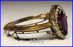 Antique 19th Century 14K Yellow Gold Amethyst Seed Pearls Victorian Bracelet