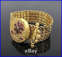 Antique 2.50ct Garnet & Pearl 18K Yellow Gold Hand Carved Adjustable Bracelet