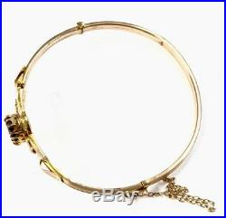 Antique 9ct Rose Gold Garnet & Pearl Hinged Bangle Bracelet