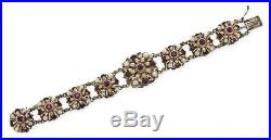 Antique Austro-Hungarian Gold On Silver Amethyst Pearls Bracelet