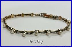 Antique Edwardian 76 Rose Cut Diamonds Pearl 18k Gold Bracelet amazing piece