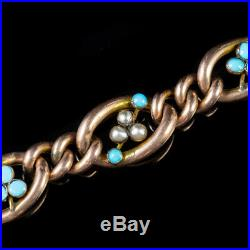 Antique Edwardian Turquoise Pearl Bracelet 9ct Rose Gold Dated 1901