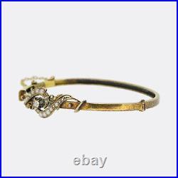 Antique Gold Bangle- Edwardian Diamond and Seed Pearl Bangle Bracelet 15ct Gold