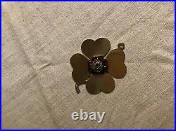 Antique Large 14k Gold Diamonds Garnets Pearls Clover Charm Pendant