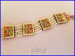 Antique Mughal 21k Gold Enamel Bracelet Enamel Fresh Pearl Diamond Ruby Emerald