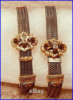 Antique Pair Gold Filled Victorian Wedding Slide Bracelets with Seed Pearls