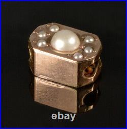 Antique Victorian 10k Gold Pearls Slide Charm For Bracelet 002260
