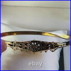 Antique Victorian 14K Solid Yellow Gold Opal Pearl Hinge Bangle Bracelet 7