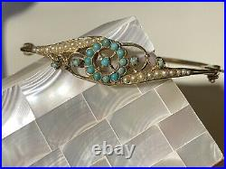 Antique Victorian 14K Yellow Gold Seed Pearl & Turquoise Hinged Bangle Bracelet