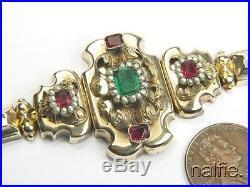 Antique Victorian 14k Gold Enamel Pearl Garnet Emerald Paste Bracelet & Earrings