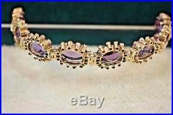Antique Victorian 14k gold huge Amethyst Pearl halo bracelet 7 1/4