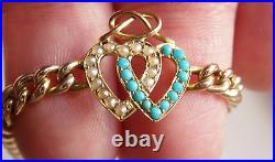 Antique Victorian 15ct Gold Turquoise & Pearl Entwined Hearts Bracelet c1900