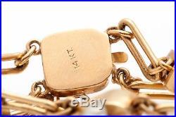 Antique Victorian 1800s Natural PEARL Diamond 14k Gold SLIDE CHARM Bracelet 24g