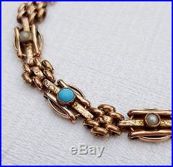 Antique Victorian 9ct Rolled Gold Fancy Turquoise Pearl Engraved Link Bracelet
