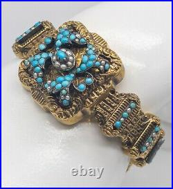Antique Victorian Etruscan 1800s Turquoise Pearl 18k Yellow Gold Bracelet 38g