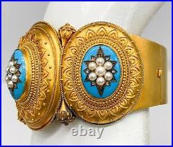 Antique Victorian Etruscan $20,000 Turquoise Pearl Diamond 18k Gold Bracelet 66g