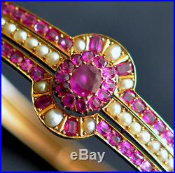 Antique Victorian Fine Mogok Ruby & Natural Pearl Bangle Bracelet in Yellow Gold