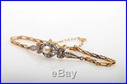Antique Victorian Natural Pearl Blue Sapphire Diamond 18k Gold Platinum Bracelet