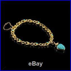 Antique Victorian Turquoise Pearl Heart Locket Bracelet 15ct Gold Circa 1900