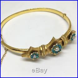 Antique Vintage 9ct Gold Edwardian Circa. 1900 Turquoise Pearl Bangle Bracelet