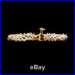 Antique Vintage Deco 22k Gold Plated Mughal Seed Pearl Wedding Bangle Bracelet