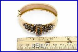 Antique Wide Cuff Emerald Pearl 18K Rose Yellow Gold Victorian Bangle Bracelet