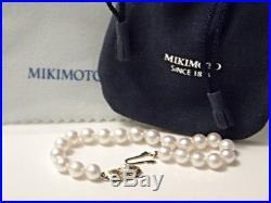 Appraisal $1,960 MIKIMOTO 18K Gold 21 Pearl 7.5mm-7mm Bracelet + Pouch 7 Inch