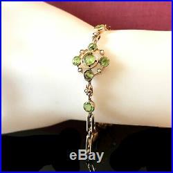 Art Nouveau 9ct, 9k, 375 Rose Gold Peridot & Pearl bracelet, C1901, maker CF