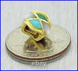 Asch Grossbardt Designer 14k Solid Yellow Gold Enamel Moonstone Bracelet Charm