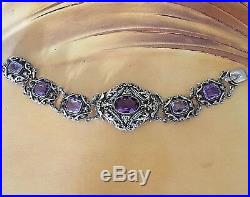 Atq Austro Hungarian Amethyst Bracelet Seed Pearls Gilded Sterling Silver 7.25