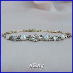 Austro-Hungarian 1.12 Diamonds Pearl Bracelet Art Nouveau gold Bangle Antique