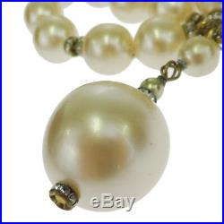 Auth CHANEL Imitation Pearl Rhinestone Bracelet Bangle Gold-tone 26 33BF880
