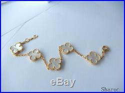 Auth Van Cleef & Arpels 18k YG Vintage Alhambra 5-Motif Mother of Pearl Bracelet