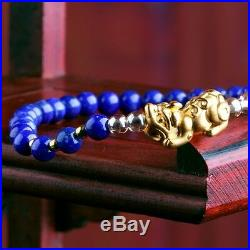 Authentic 24K Yellow Gold 3D Pixiu Bead Bracelet with lapis lazuli Beads