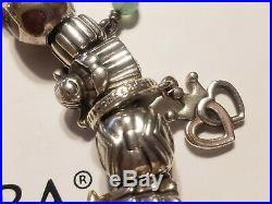 Authentic ALL Pandora Bracelet Engagement 23 Charms 14k Gold Dangle 925 ALE Bead