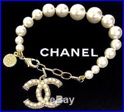 Authentic CHANEL Classic Gold Tone CC Logo Pearl Bracelet