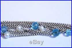 Authentic David Yurman 18K Blue Topaz & Pearl Multi Strand Box Link Bracelet