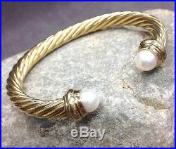 Authentic David Yurman 18k Yellow Gold Pearl Cable Cuff Bangle Bracelet