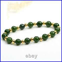 Authentic Grade A Jade (jadeite) 10mm Green Bead 4mm 18K Gold Bead Bracelet