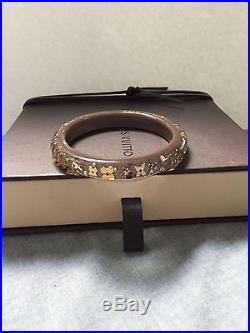 Authentic LOUIS VUITTON Inclusion Bracelet Praline Brown Taupe Gold Pearl
