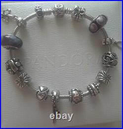 Authentic PANDORA Charm LOT Bracelet mother charms 925 Silver& 14k gold Retired